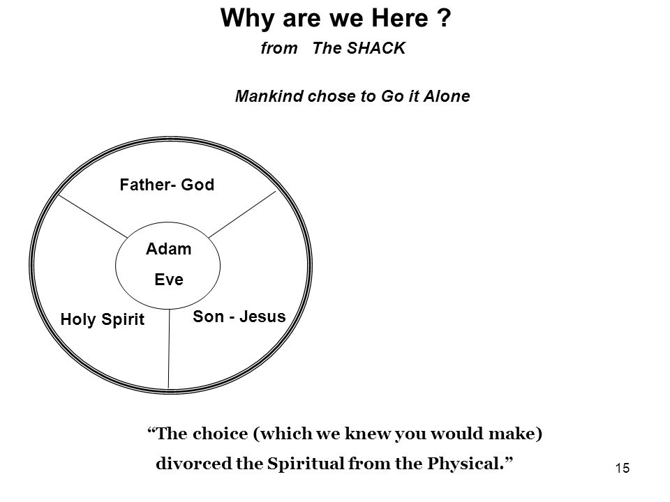 15 Why are we Here ? from The SHACK Mankind chose to Go it Alone Father- God Holy Spirit Son - Jesus Adam Eve The choice (which we knew you would make