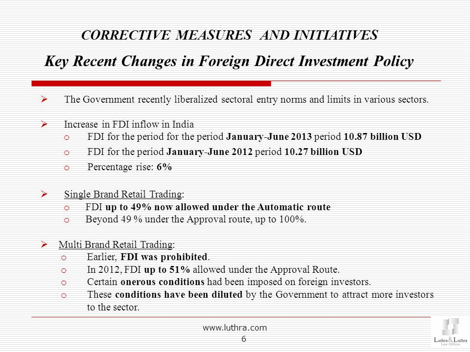 www.luthra.com 6 The Government recently liberalized sectoral entry norms and limits in various sectors. Increase in FDI inflow in India o FDI for the