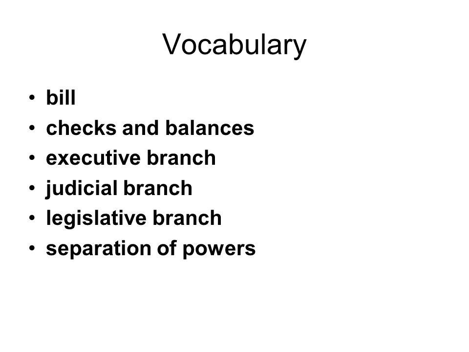 Vocabulary bill checks and balances executive branch judicial branch legislative branch separation of powers