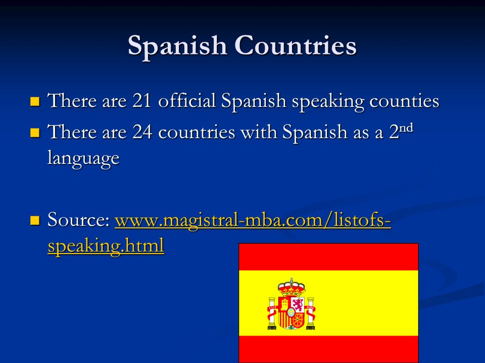 Spanish Countries There are 21 official Spanish speaking counties There are 21 official Spanish speaking counties There are 24 countries with Spanish as a 2 nd language There are 24 countries with Spanish as a 2 nd language Source: www.magistral-mba.com/listofs- speaking.html Source: www.magistral-mba.com/listofs- speaking.htmlwww.magistral-mba.com/listofs- speaking.htmlwww.magistral-mba.com/listofs- speaking.html