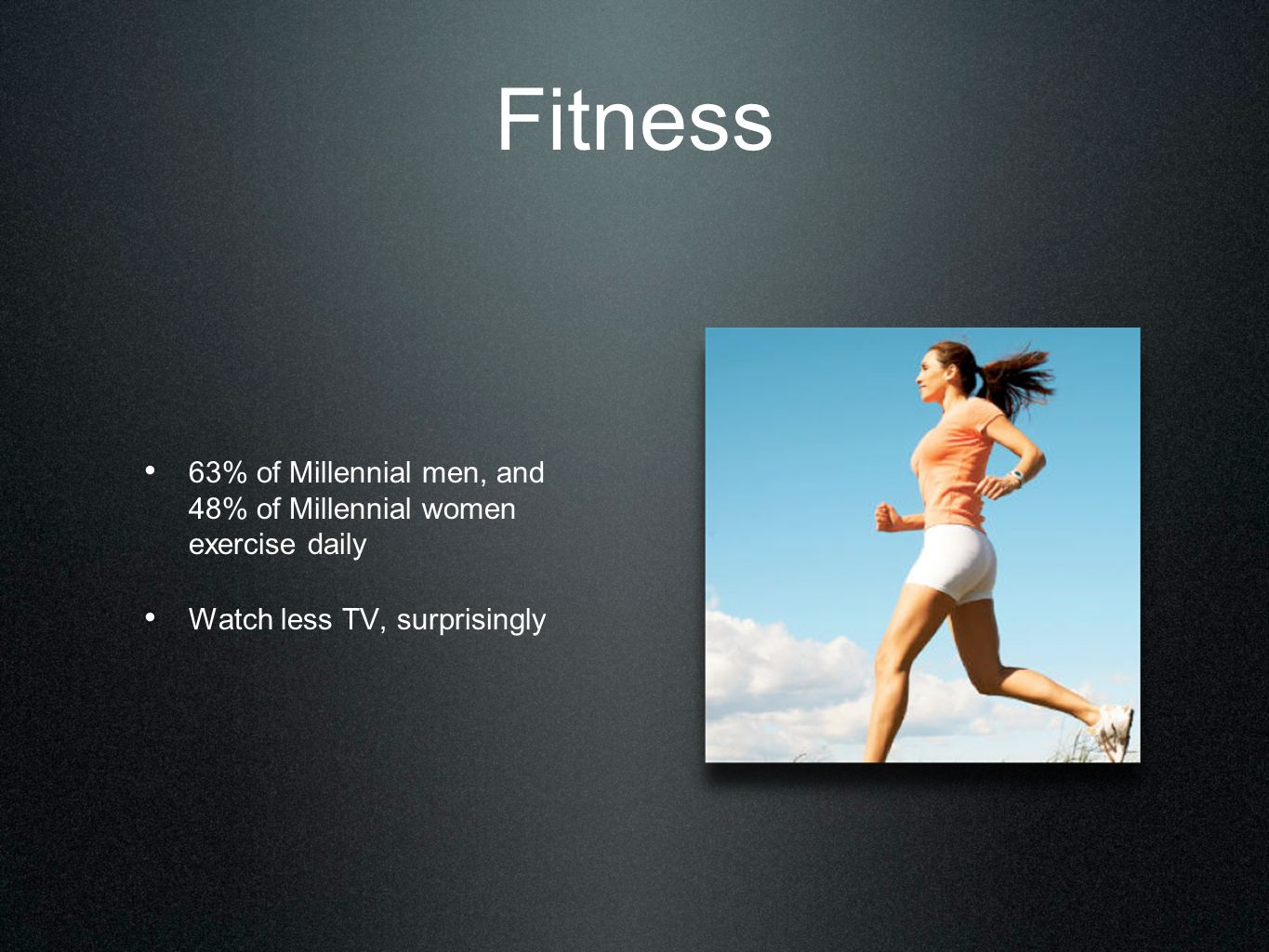 Fitness 63% of Millennial men, and 48% of Millennial women exercise daily Watch less TV, surprisingly
