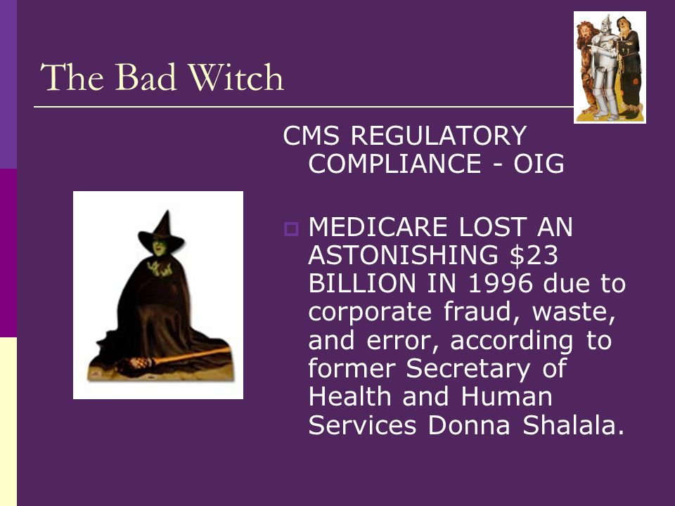 The Bad Witch CMS REGULATORY COMPLIANCE - OIG MEDICARE LOST AN ASTONISHING $23 BILLION IN 1996 due to corporate fraud, waste, and error, according to former Secretary of Health and Human Services Donna Shalala.