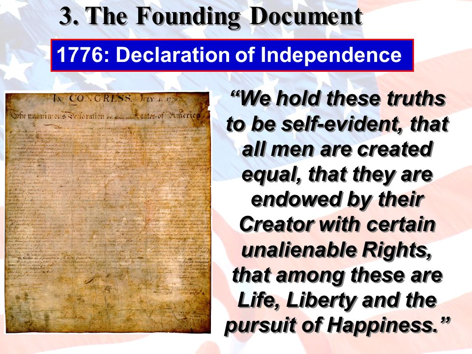 We hold these truths to be self-evident, that all men are created equal, that they are endowed by their Creator with certain unalienable Rights, that