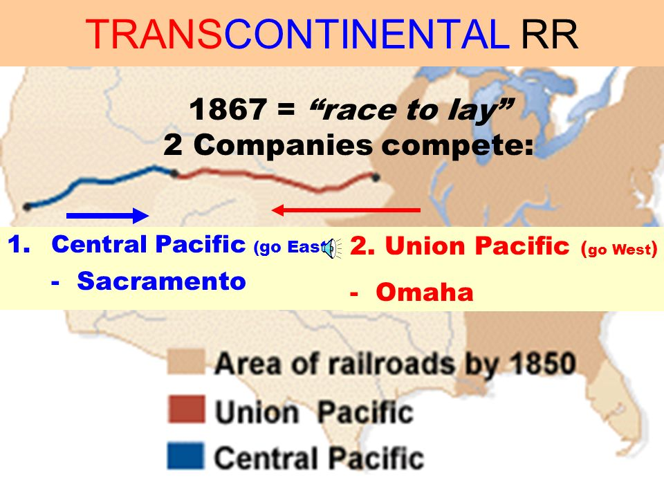 RAILROADS. HUGE expansion … 130 Mil acres given to RR.