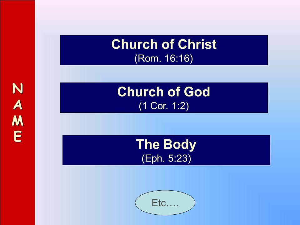NAME Church of Christ (Rom. 16:16) Church of God (1 Cor. 1:2) The Body (Eph. 5:23) Etc….
