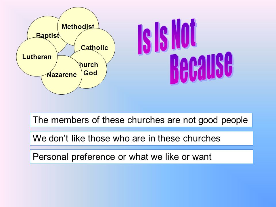 Why we believe denominations are wrong Why we believe denominations are wrong Baptist Methodist Catholic Church of God Nazarene Lutheran I.