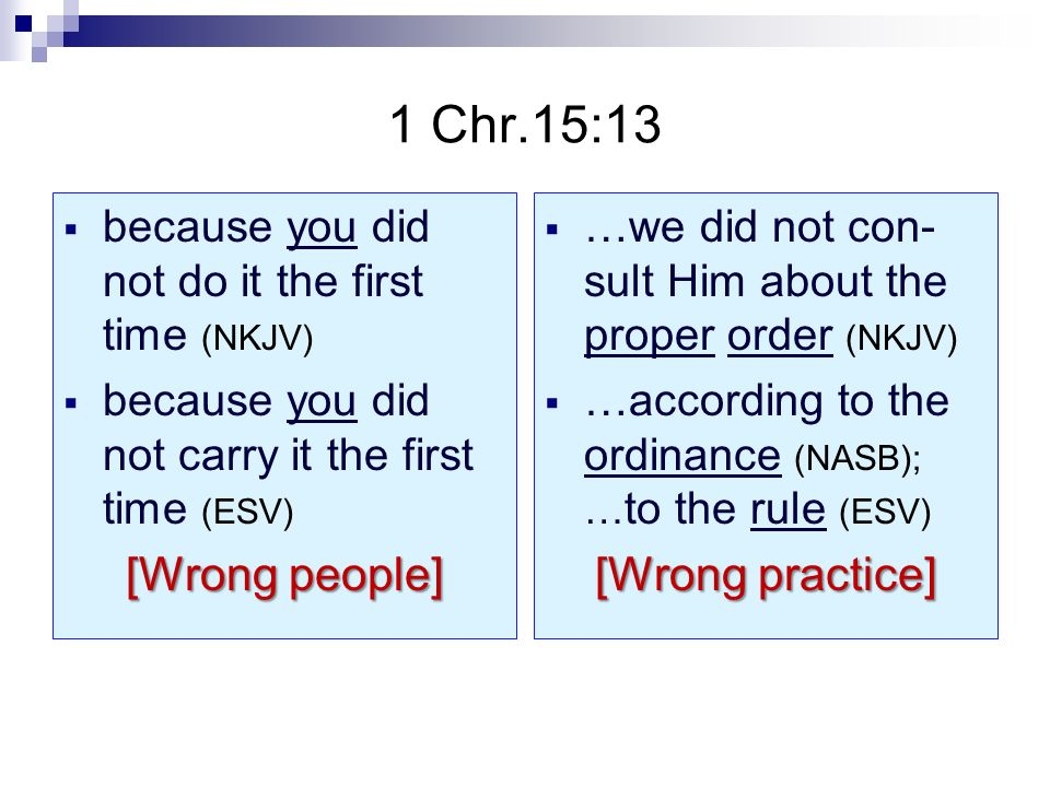 1 Chr.15:13 because you did not do it the first time (NKJV) because you did not carry it the first time (ESV) [Wrong people] …we did not con- sult Him