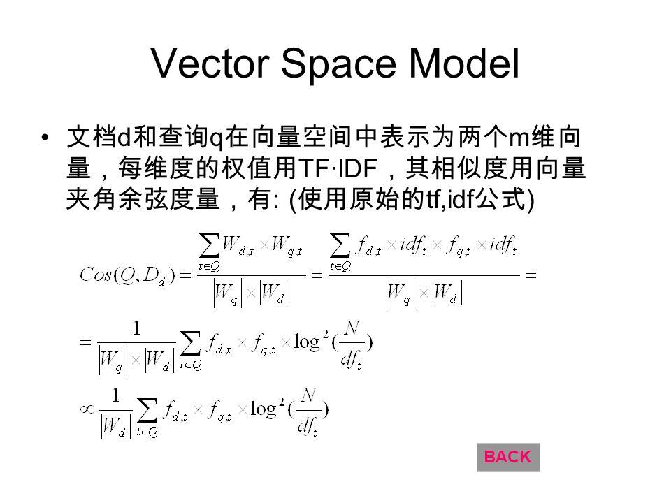 Vector Space Model d q m TFIDF : ( tf,idf ) BACK