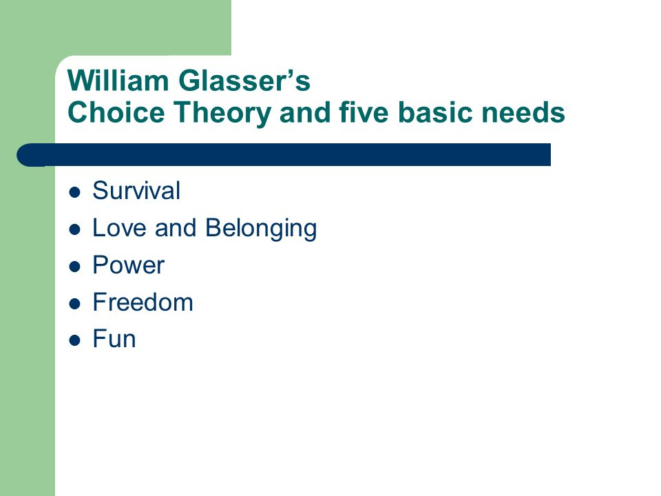 William Glassers Choice Theory and five basic needs Survival Love and Belonging Power Freedom Fun