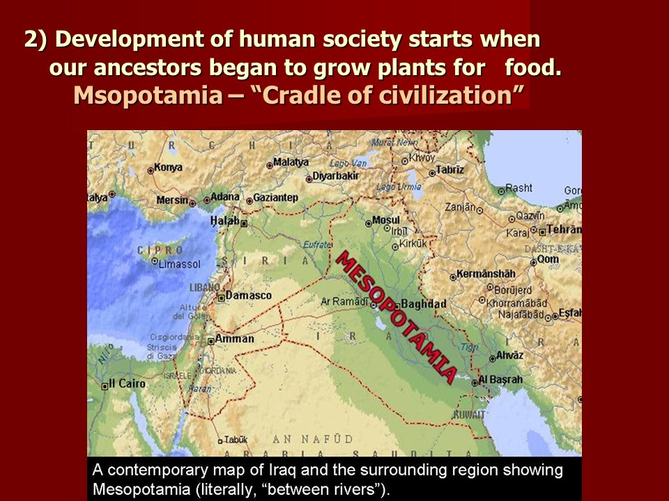 2) Development of human society starts when our ancestors began to grow plants for food. Msopotamia – Cradle of civilization