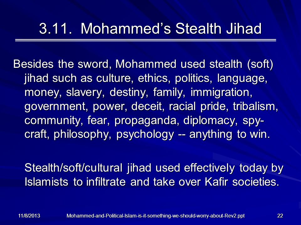 Mohammed-and-Political-Islam-is-it-something-we-should-worry-about-Rev2.ppt 11/8/201322 3.11. Mohammeds Stealth Jihad Besides the sword, Mohammed used