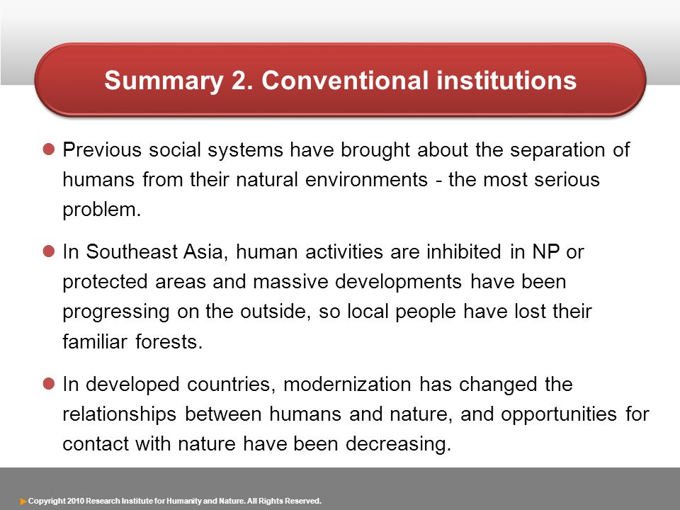 Copyright 2010 Research Institute for Humanity and Nature. All Rights Reserved. Previous social systems have brought about the separation of humans fr