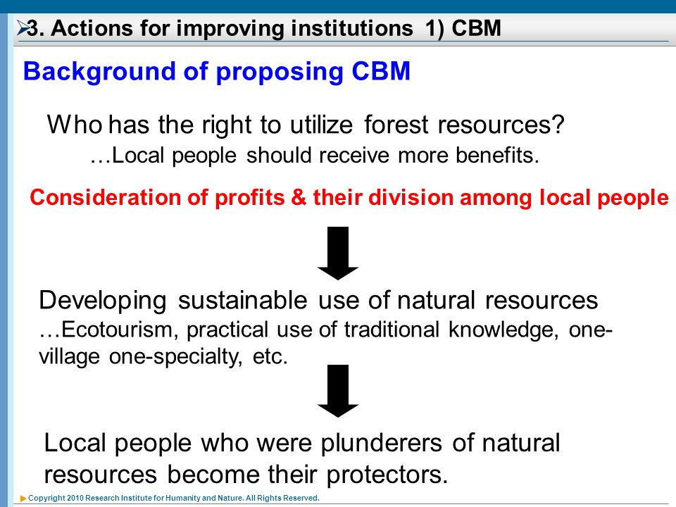 Copyright 2010 Research Institute for Humanity and Nature. All Rights Reserved. 3. Actions for improving institutions 1) CBM Background of proposing C