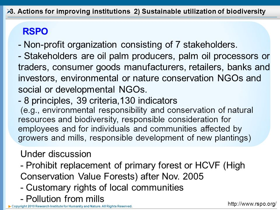 Copyright 2010 Research Institute for Humanity and Nature. All Rights Reserved. 3. Actions for improving institutions 2) Sustainable utilization of bi