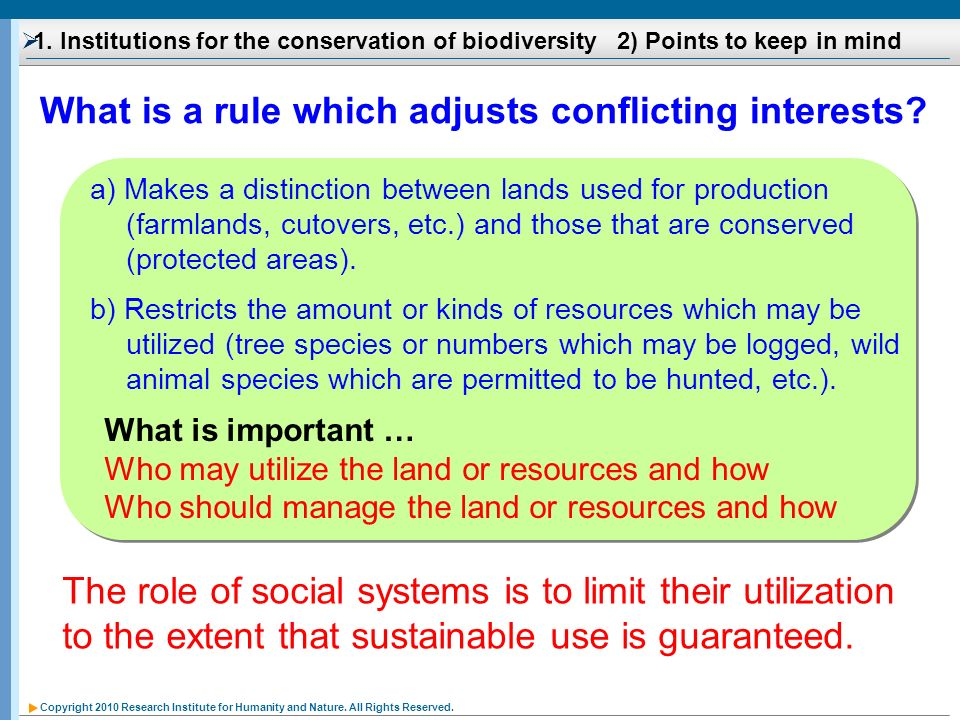 Copyright 2010 Research Institute for Humanity and Nature. All Rights Reserved. 1. Institutions for the conservation of biodiversity 2) Points to keep