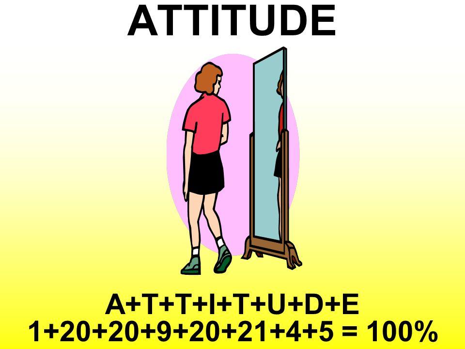 ATTITUDE A+T+T+I+T+U+D+E 1+20+20+9+20+21+4+5 = 100%
