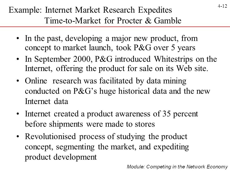 4-12 In the past, developing a major new product, from concept to market launch, took P&G over 5 years In September 2000, P&G introduced Whitestrips o