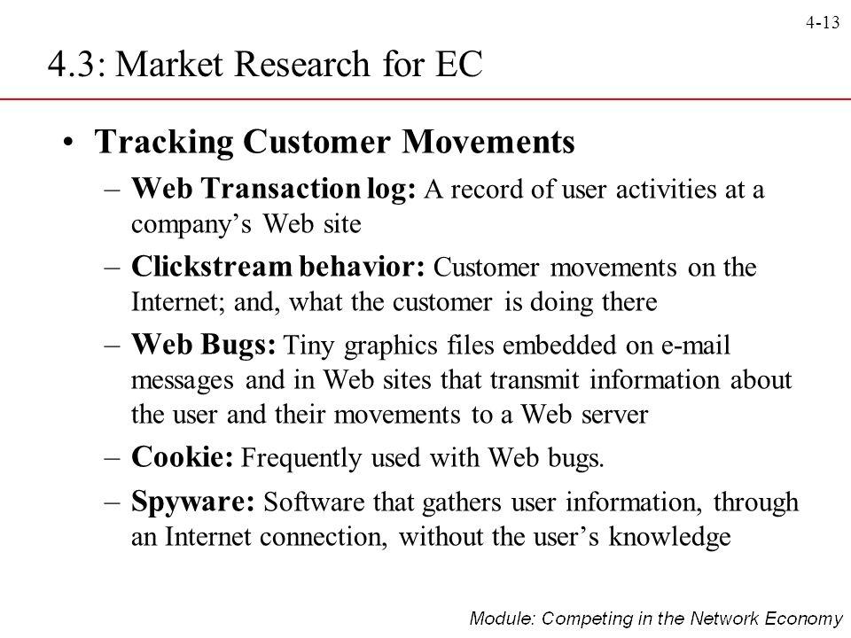 4-13 Tracking Customer Movements –Web Transaction log: A record of user activities at a companys Web site –Clickstream behavior: Customer movements on