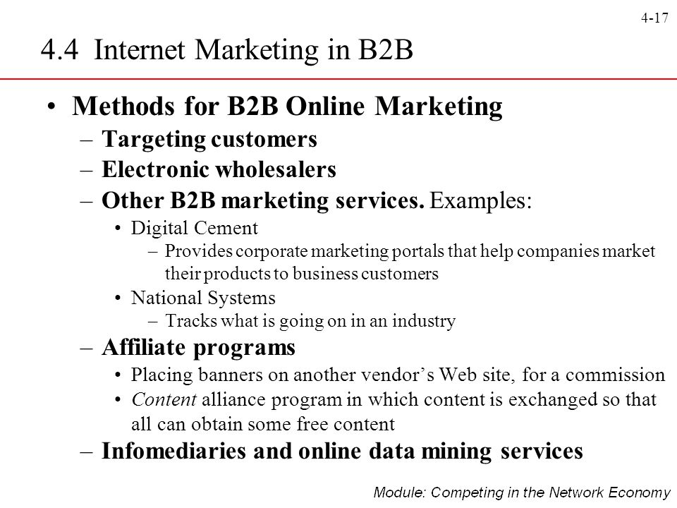 4-17 Methods for B2B Online Marketing –Targeting customers –Electronic wholesalers –Other B2B marketing services. Examples: Digital Cement –Provides c