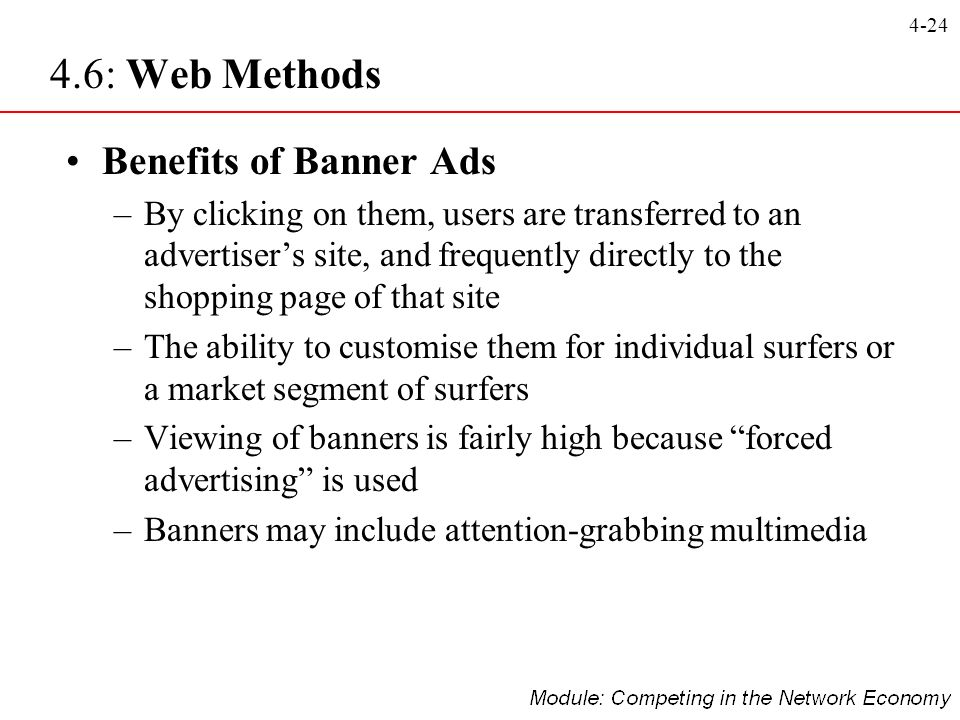 4-24 Benefits of Banner Ads –By clicking on them, users are transferred to an advertisers site, and frequently directly to the shopping page of that s