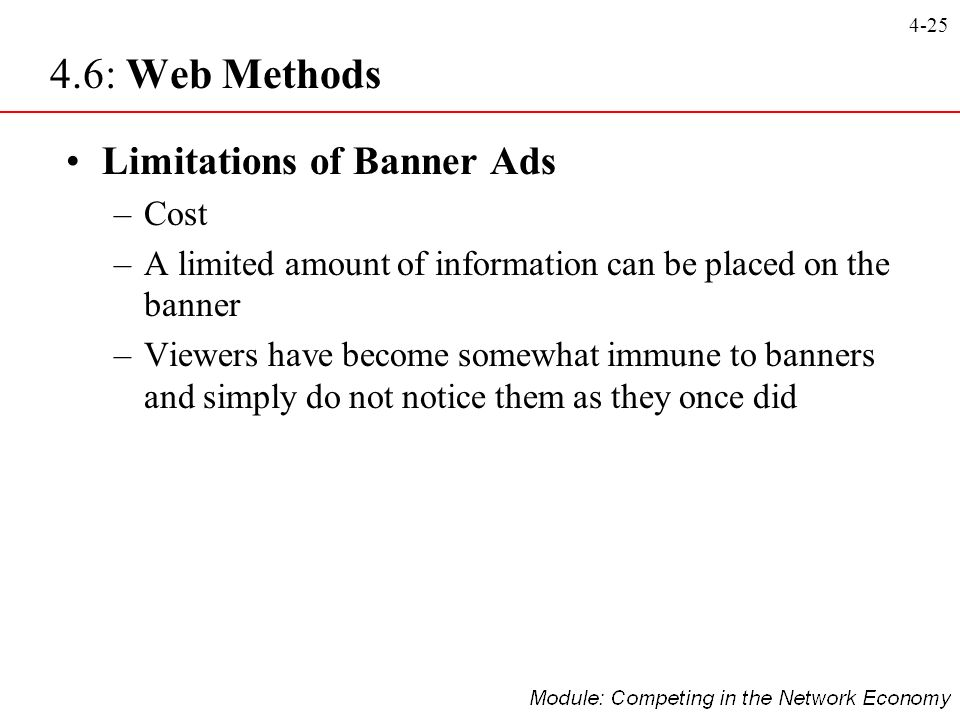 4-25 Limitations of Banner Ads –Cost –A limited amount of information can be placed on the banner –Viewers have become somewhat immune to banners and
