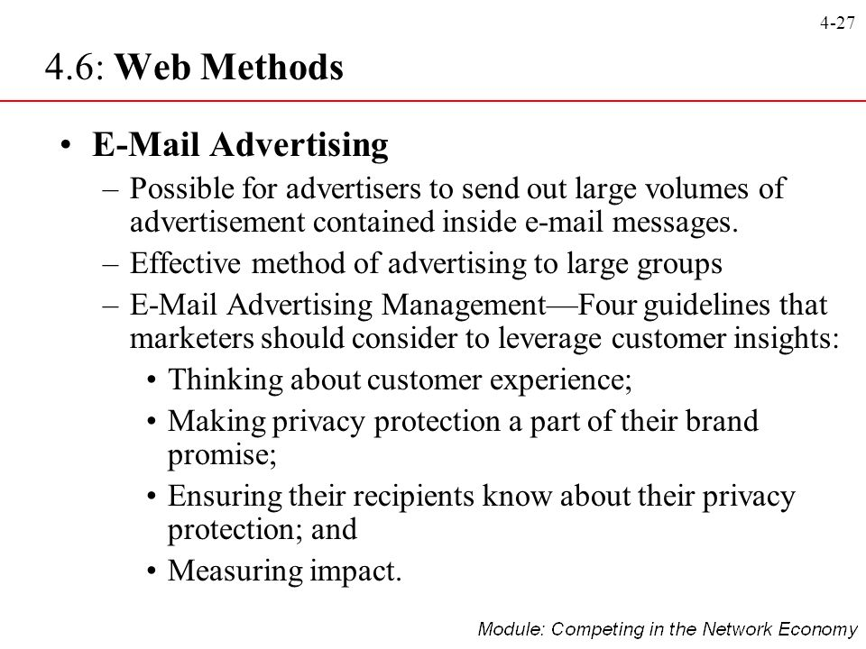 4-27 E-Mail Advertising –Possible for advertisers to send out large volumes of advertisement contained inside e-mail messages. –Effective method of ad
