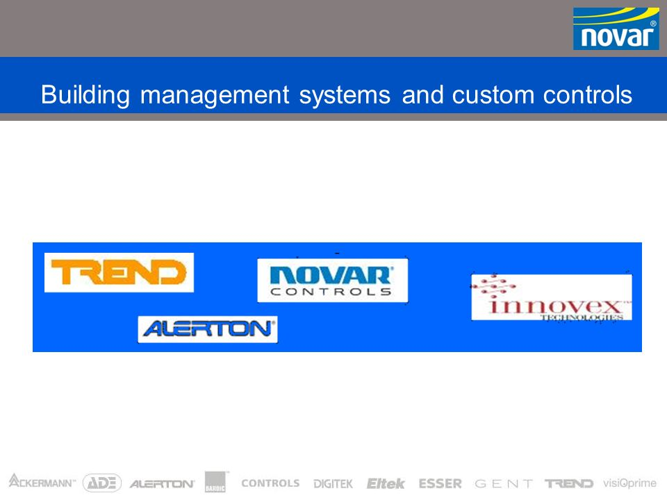 N O V A R I N T E L L I G E N T B U I L D I N G S Y S T E M S Security Systems Electrical Accessories Connectivity Systems Control Systems * Includes acquisitions during 2002 The Novar Organisation