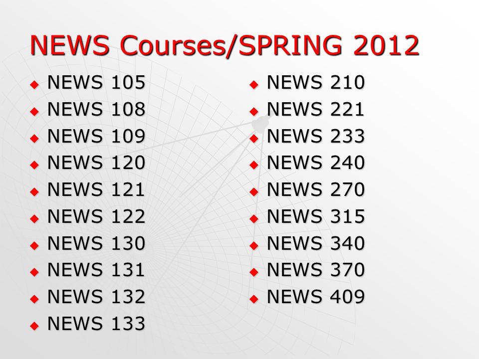 NEWS Courses/SPRING 2012 NEWS 105 NEWS 105 NEWS 108 NEWS 108 NEWS 109 NEWS 109 NEWS 120 NEWS 120 NEWS 121 NEWS 121 NEWS 122 NEWS 122 NEWS 130 NEWS 130