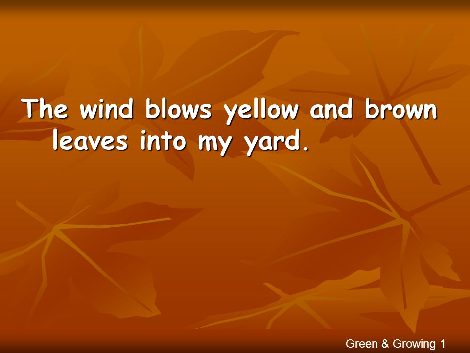 The wind blows yellow and brown leaves into my yard. Green & Growing 1