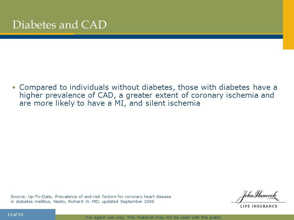 For agent use only. This material may not be used with the public. 13 of 53 Diabetes and CAD Compared to individuals without diabetes, those with diab