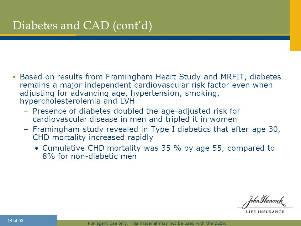 For agent use only. This material may not be used with the public. 14 of 53 Diabetes and CAD (contd) Based on results from Framingham Heart Study and