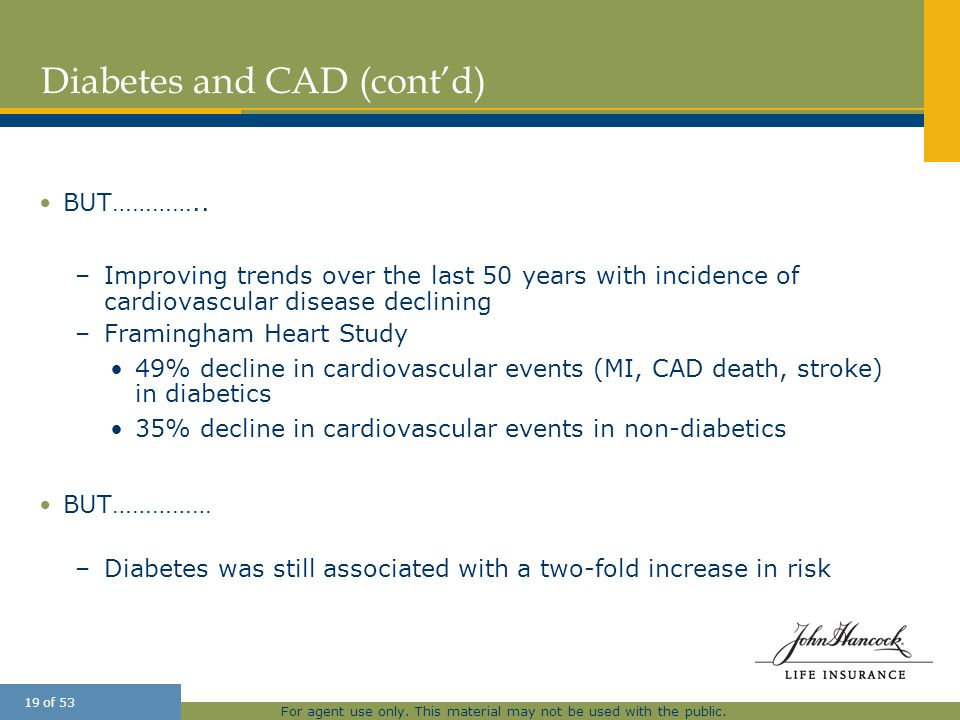 For agent use only. This material may not be used with the public. 19 of 53 Diabetes and CAD (contd) BUT………….. –Improving trends over the last 50 year