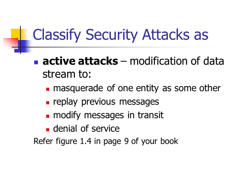 Classify Security Attacks as active attacks – modification of data stream to: masquerade of one entity as some other replay previous messages modify m