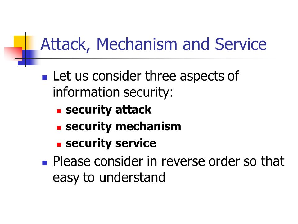Attack, Mechanism and Service Let us consider three aspects of information security: security attack security mechanism security service Please consid