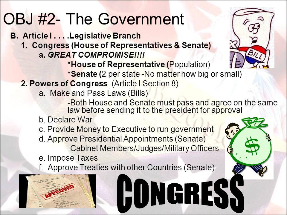 B. Article I....Legislative Branch 1. Congress (House of Representatives & Senate) a. GREAT COMPROMISE!!!! *House of Representative (Population) *Sena