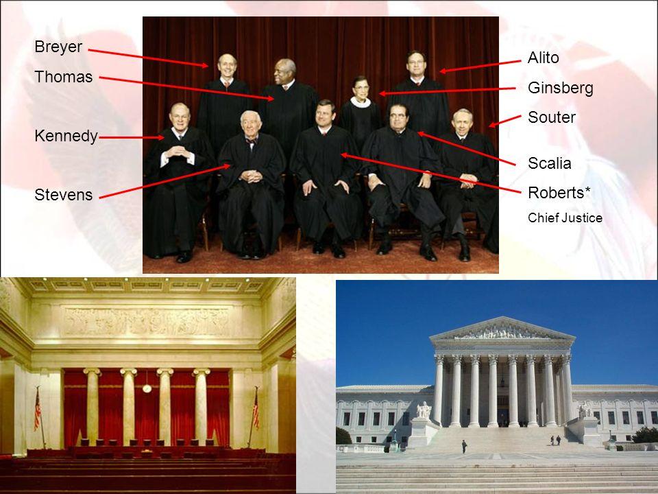 Alito Ginsberg Souter Scalia Roberts* Chief Justice Breyer Thomas Kennedy Stevens