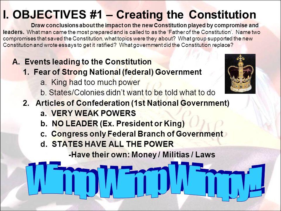 B.Article I....Legislative Branch 1. Congress (House of Representatives & Senate) a.