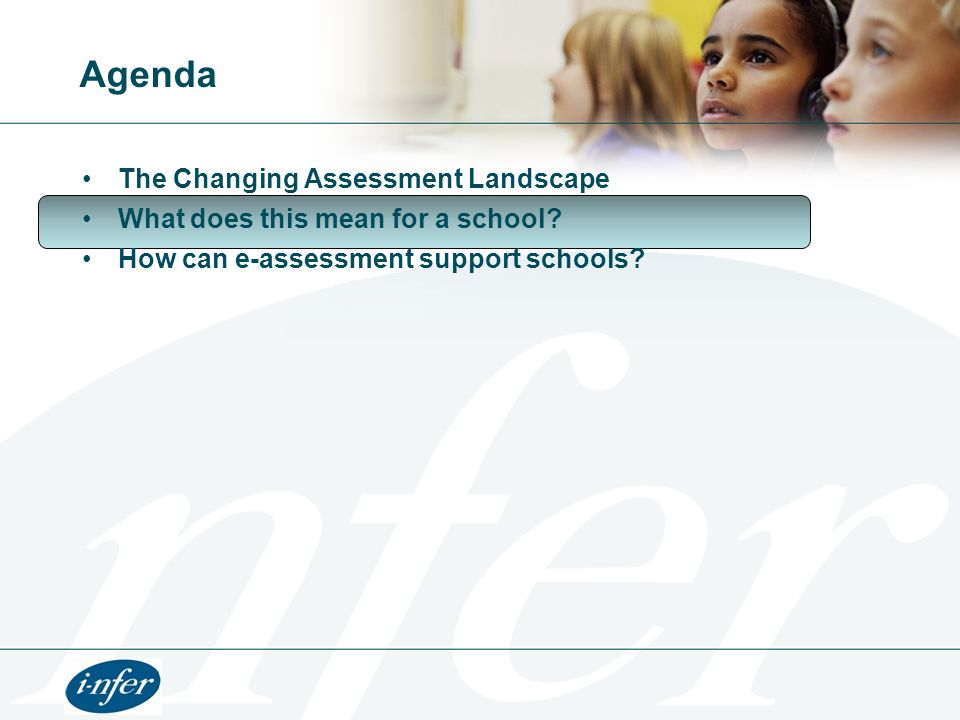Agenda The Changing Assessment Landscape What does this mean for a school? How can e-assessment support schools?