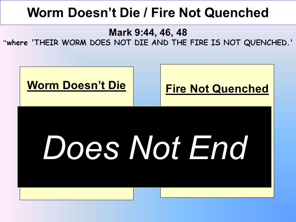 Worm Doesnt Die / Fire Not Quenched Mark 9:44, 46, 48 where THEIR WORM DOES NOT DIE AND THE FIRE IS NOT QUENCHED. Worm Doesnt Die Worm eats flesh of animal When flesh is consumed worm dies Fire Not Quenched Burning of trash When burned It is consumed & fire goes out Does Not End