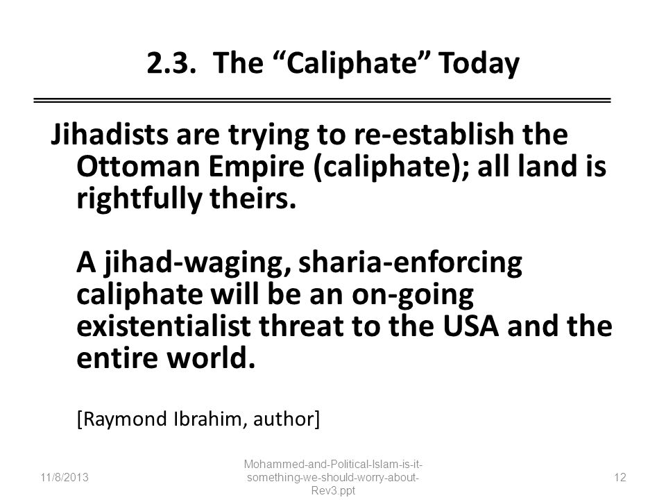 2.3. The Caliphate Today Jihadists are trying to re-establish the Ottoman Empire (caliphate); all land is rightfully theirs. A jihad-waging, sharia-en
