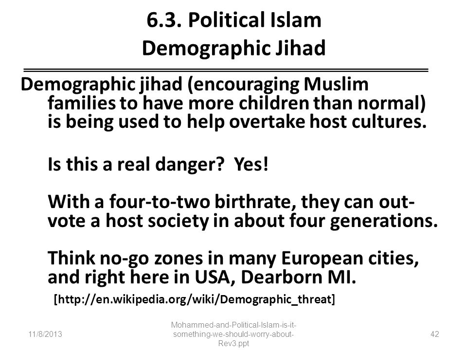 6.3. Political Islam Demographic Jihad Demographic jihad (encouraging Muslim families to have more children than normal) is being used to help overtak