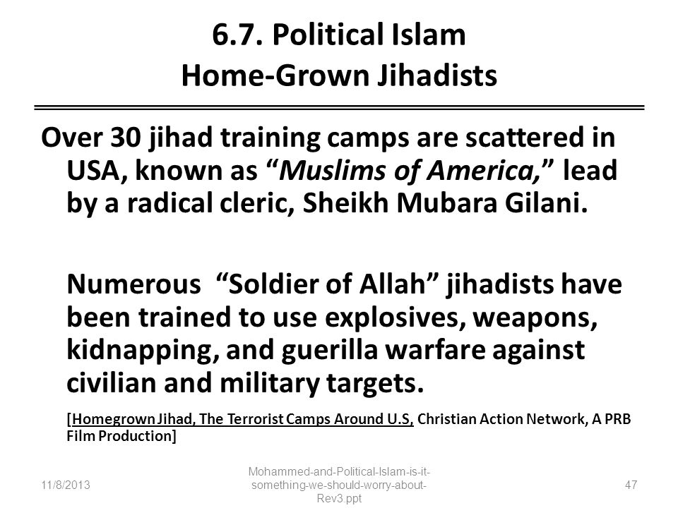 6.7. Political Islam Home-Grown Jihadists Over 30 jihad training camps are scattered in USA, known as Muslims of America, lead by a radical cleric, Sh
