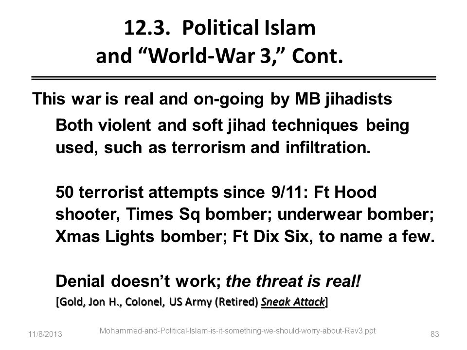 11/8/2013 Mohammed-and-Political-Islam-is-it-something-we-should-worry-about-Rev3.ppt 83 12.3. Political Islam and World-War 3, Cont. This war is real