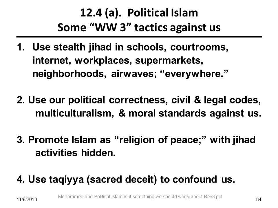 11/8/201384 Mohammed-and-Political-Islam-is-it-something-we-should-worry-about-Rev3.ppt 12.4 (a). Political Islam Some WW 3 tactics against us 1.Use s