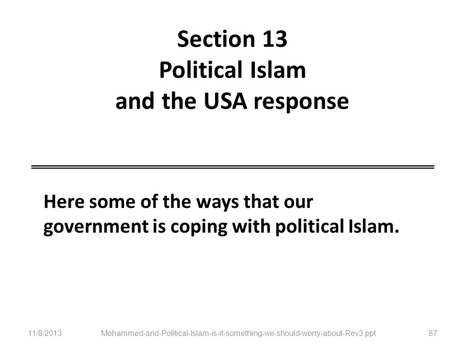 Section 13 Political Islam and the USA response Here some of the ways that our government is coping with political Islam. 11/8/2013Mohammed-and-Politi