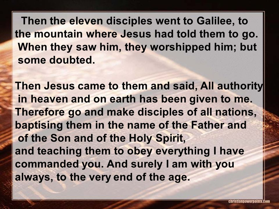 Then the eleven disciples went to Galilee, to the mountain where Jesus had told them to go. When they saw him, they worshipped him; but some doubted.