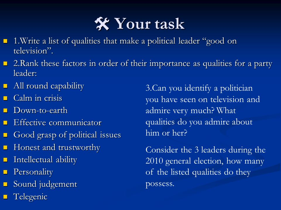 Your task Your task 1.Write a list of qualities that make a political leader good on television. 1.Write a list of qualities that make a political lea