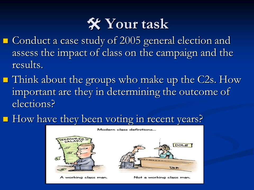 Your task Your task Conduct a case study of 2005 general election and assess the impact of class on the campaign and the results. Conduct a case study