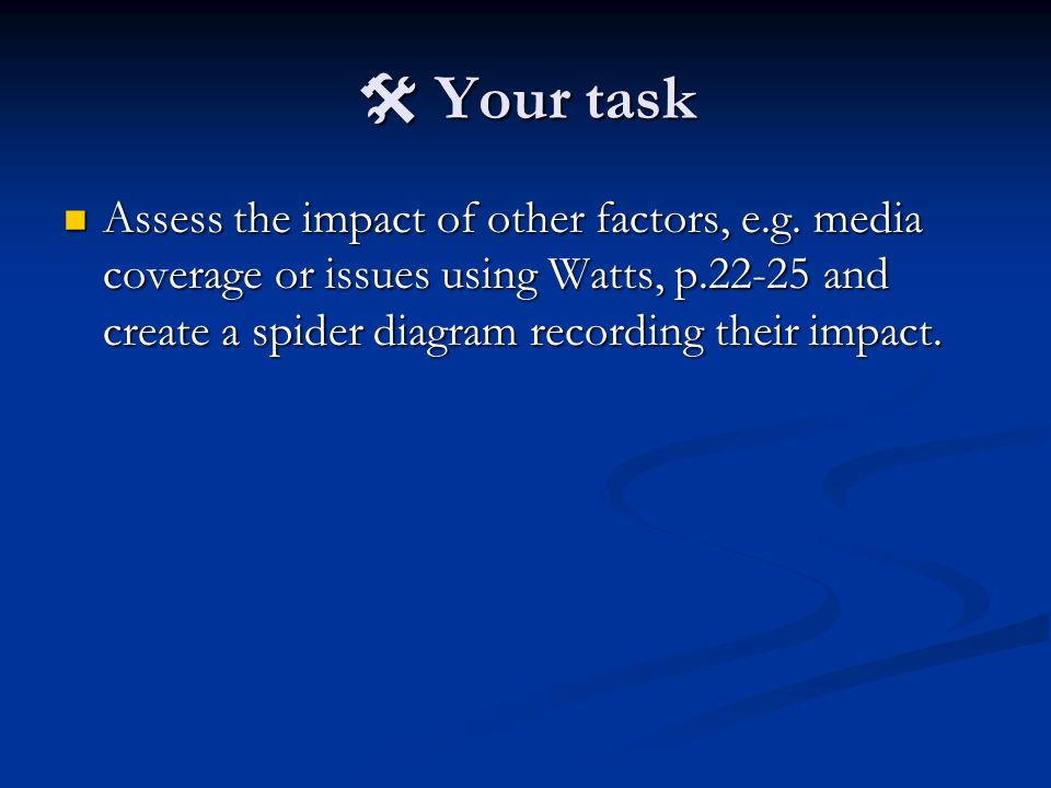 Your task Your task Assess the impact of other factors, e.g. media coverage or issues using Watts, p.22-25 and create a spider diagram recording their