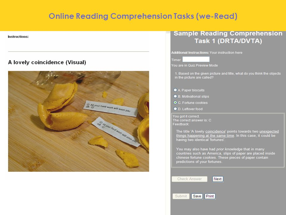 Online Reading Comprehension Tasks (we-Read)